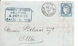 Lettre - Etoile De Paris N°12 Sur N°60 Pour Albi - Marcophilie (Lettres)