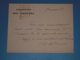 CAS Carte Autographe Signée  Robert Eugène Des ROTOURS 1888 - Carte De La Chambre Des Députés - Député Du Nord Voeux - Autógrafos