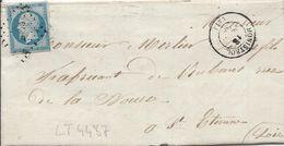 LT4487  N°14A/Lettre, Oblit PC 2040 Monistrol, Haute-Loire (41), Ind 4 Pour ST Etienne De Sept 1858 - 1853-1860 Napoleone III