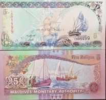 RC) MALDIVES BANK NOTES 5 RUFIYAA UNC ND 1998 - Maldiven