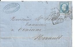 Lettre - Etoile De Paris N17 Sur N°22 Pour Aniane (Herault) - Marcophilie (Lettres)