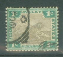 Federated Malay States: 1904/22   Tiger    SG27    1c   Grey & Green    Used - Federated Malay States