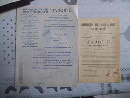 """RONCHIN LEZ LILLE MANUFACTURE DES PRODUITS """"SADOINE"""" 163 ROUTE DE DOUAI COURRIER DU 29 MARS 1924 ET TARIF OCTOBRE 1924 - France"""