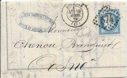 LT4499  N°60/Lettre, Oblit GC 574 Bourges, Cher (17), Pour Cosne Du 19 Avril 1875 - 1871-1875 Cérès
