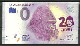 Billet Touristique  0 Euro 2018 La Vallée Des Singes Gorille - EURO