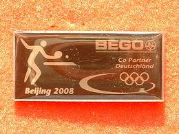 PIN'S TENNIS DE TABLE - J.O PEKIN 2008 - BEGO CO PARTNER DEUTSCHLAND - Table Tennis