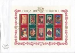 AUSTRIA OSTERREICH 1996 1000 Years Anniversary FDC Mi Bl 12 #21905 - FDC