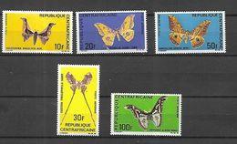 Centrafrique 1969 Poste Aérienne Papillons  Divers  Cat Yt N° 69 à 73 N** MNH - Central African Republic
