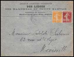 4115/ Lettre (cover) Bouches Du Rhone Oued El Aneb Algérie 1924 Pour Marseille Flamme Utilisez La Poste Aérienne - Postmark Collection (Covers)