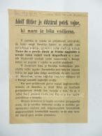 ADOLF HITLER  Trieste Giugno 1944 Sistiana Volantino SS In Sloveno Slovenija Wehrmacht - 1939-45