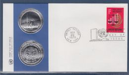 = 25è Anniversaire De L'O.N.U. Enveloppe 1er Jour New-York 20.11.70 N°206 Balance De La Justice Et Branche De Laurier - FDC