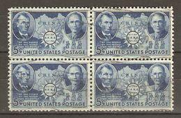 Etats-Unis - 1942 - Chinese Resistance - Sun Yat Sen - Lincoln - Carte De Chine - Bloc De 4° - SC 906 - Used Stamps