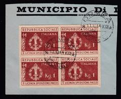 Italia: R.S.I. - FRANCHIGIA MILITARE / Emblema Della R.S.I. Bruno Rosso (frammento ORMEA CUNEO 17/10/44) - 1944 - 1944-45 République Sociale