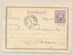 Nederlands Indië - 1879 - 5c Willem III, Briefkaart G1 Van KR  DJOCJAKARTA En Puntstempel 10 Naar KR Padang - Nederlands-Indië