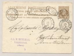 Nederlands Indië - 1887 - 7,5c Willem III, Briefkaart G7 Van KR PASOEROEAN Via Brindisi Naar Amsterdam - Nederlands-Indië