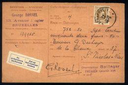 B18 - Carte-récépissé / Ontvangkaart - OBP 203 - Schaerbeek - 1925 - 1922-1927 Houyoux