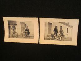 Lot De 2 Photos, Cyclomoteur Peugeot Bima 1954, Années 1950, France. - Cycling