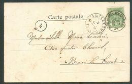 N°56 - 5c ; Obl. Sc St-GILLES (BRUX.)(CH. De CHARLEROI)5 Avril 1904 Sur C.V. (avec Au Dos Paillette De Mica - Verre - Au - Postmark Collection