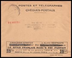 9842 Lettre Cover Publicitaire (verso) Stylo Rool's 1929Bouches Du Rhone Marseille Chèques Postaux - Poststempel (Briefe)