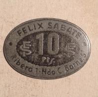 TOKEN JETON GETTONE SPAGNA FELIX SABATE RIBERA  10 PESETAS - Monetary/Of Necessity