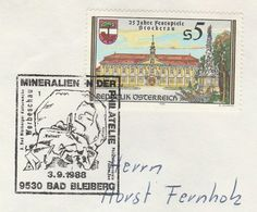 1988 Bad Bleiberg MINERALS  EVENT COVER Austria  Stamps Stockerau Festival Tree Heraldic - Minerali
