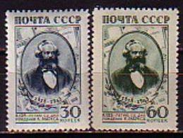 RUSSIA - UdSSR - 1943 - 125 De La Naissance De Karl Marx  - 2v** - 1923-1991 URSS