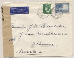 Nederlands Indië - 1945 - 40c Konijnenburg En 5c Palmenstrand Op Censored Cover Van Makasser Naar Alkmaar - Netherlands Indies