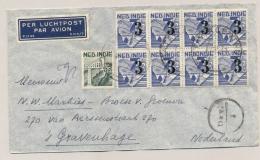 Nederlands Indië - 1947 - 8x 3 Cent Opdrukzegel Op LP-cover Met Deviezencensuur Van Batavia Naar Den Haag - Netherlands Indies