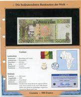 GUINEE BILLET NEUF DE 500 FRANCS DE 1998 AVEC CERTIFICAT - Guinée