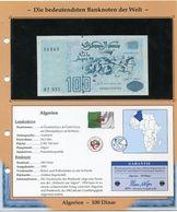 ALGERIE BILLET NEUF DE 100 DINAR DE 1992 AVEC CERTIFICAT - Algérie