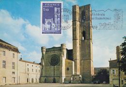 Carte  Maximum  FRANCE  Flamme  1er  Jour   Cathédrale  De  LODEVE    1976 - Cartes-Maximum