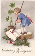 Girl Clover  Ink Well,  Inkwell  Pot D'encre Ink Pot  Enfant Old Postcard. Cpa. - Clapsaddle