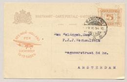 Nederlands Indië - 1934 - 5c Opdruk Op 7,5c Briefkaart Met Luchtpostreklame, G51b Van Bandoeng Naar Amsterdam - Nederlands-Indië