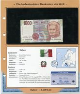 ITALIE BILLET NEUF DE 1.000 LIRE DE 1990 AVEC CERTIFICAT - [ 2] 1946-… : Repubblica