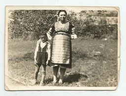 Bulgarian Woman With Folk Costume And Boy Pose For A Photo T184-49 - Anonymous Persons