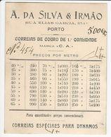 Preços Por Metro * Correias De Couro * A. Da Silva & Irmão * Porto * Portugal - Pubblicitari