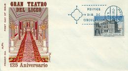 1972 , SOBRE DE PRIMER DIA , ED. 2114 , 125 ANIV. TEATRO DEL LICEO - FDC