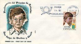 1977 , SOBRE DE PRIMER DIA , ED. 2449 , FELIPE DE BORBÓN - FDC