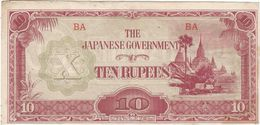 Birmania - Burma 10 Ruppes 1942 Pick 16.a Ref 189-2 - Myanmar