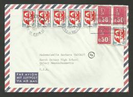 Lettre Avion >>> U.S.A. / Affr. Becquet & Blasons / PARIS 07.12.1971 - 1971-76 Marianne De Béquet