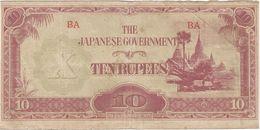 Birmania - Burma 10 Ruppes 1942 Pick 16.b.1 Ref 184-2 - Myanmar