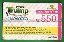 INDIA 2007 Inde Indien - Prepaid Mobile Recharge Card - Used , MTNL Trump, Delhi , Rupees 550 - As Scan - India