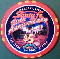 $5 Casino Chip. Santa Fe, Las Vegas, NV. 6th Anniversary, Only 2000 Made. M39. - Casino
