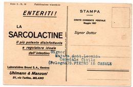 DEAR DOCTOR TYPE PUBL. SARCOLACTINE-LAB.BRAND 1927 / GINEVRA - UFFICIO INTERNAZIONALE DEL LAVORO - Salute