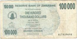 Zimbabwe 100.000 Dollars 01-08-2006 Pick 48.b Ref 1563 - Zimbabwe