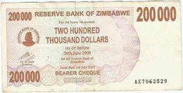 Zimbabwe 200.000 Dollar 01-07-2007 Pick 49 Ref 1564 - Zimbabwe