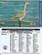 U.A.E. - Bird, Bar-tailed Godwit(reverse 5), Etisalat Prepaid Card Dhs 30, Used - United Arab Emirates