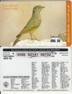 U.A.E. - Bird, Desert Larks(reverse 4), Etisalat Prepaid Card Dhs 30, Used - United Arab Emirates