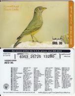 U.A.E. - Bird, Desert Larks(reverse 3), Etisalat Prepaid Card Dhs 30, Used - United Arab Emirates