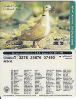 U.A.E. - Bird, Collared Dove(reverse 2), Etisalat Prepaid Card Dhs 30, Used - United Arab Emirates